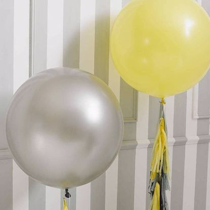"Picture of 36"" Balloons, Grey Yellow Tissue Tassel"