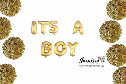Picture of ITS A BOY Letters 16 Inch 40 cm Foil Balloons Baby Shower