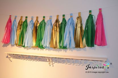 Picture of DIY Tissue Paper Garland Tassel Banner Birthday Kids Tinkerbell Disney