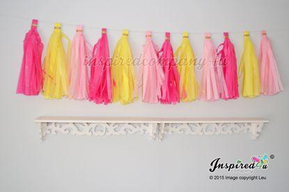 Picture of Birthday Garland Tissue Paper Tassel Wedding Hot Pink Yellow..