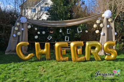 """Picture of CHEERS Letters up to 40"""" / 100 cm Mylar Gold Foil Balloons Wedding"""
