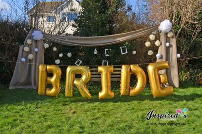 """Picture of BRIDE Letters up to 40"""" Mylar Gold Foil Balloons Wedding"""