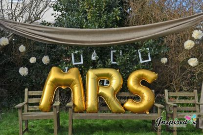 """Picture of MR MRS Letters up to 40"""" / 100 cm Mylar Gold Foil Balloons Wedding"""