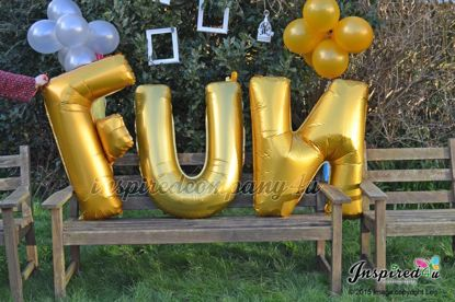 """Picture of FUN Letters up to 40"""" / 100 cm Mylar Gold Foil Balloons Wedding"""