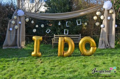 """Picture of I DO Letters up to 40"""" / 100 cm Mylar Gold Foil Balloons Wedding"""