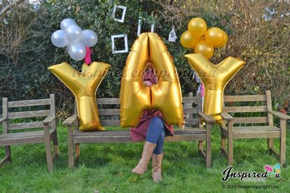 """Picture of YAY Letters up to 40"""" / 100 cm Mylar Gold Foil Balloons Birthday"""