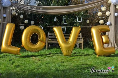 """Picture of LOVE Letters up to 40"""" / 100 cm Mylar Gold Foil Balloons Wedding"""