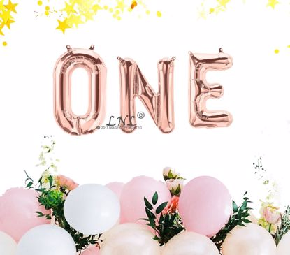 Picture of Rose Gold Balloons One Birthday