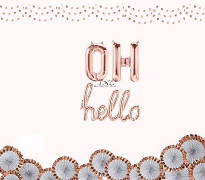 "Picture of OH Hello Rose Gold Balloons, Letters Foil 16"" Mylar Wedding, Baby Shower"