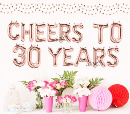 """Picture of Cheers To 30 Years Rose Gold Balloons Letters 16"""""""
