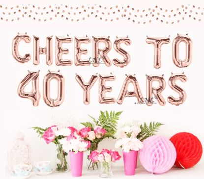 Picture of Cheers To 40 Years Rose Gold Balloons Letters 16""