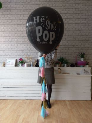 Picture of He Or She What will baby be Gender Reveal Balloons Boy or Girl Baby Shower Confetti