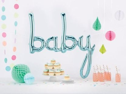 Picture of Baby Blue Script balloon 34 in Gender Reveal Baby Shower