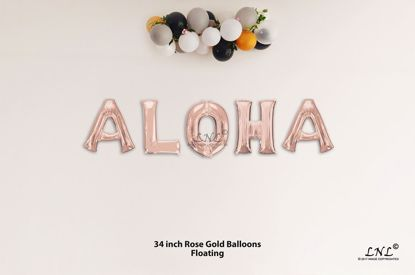 Picture of ALOHA Rose Gold Letters 34 Inch Foil Balloons