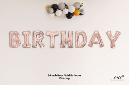 Picture of BIRTHDAY  Rose Gold Letters 34 Inch Foil Balloons