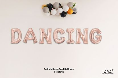 Picture of DANCING Rose Gold Letters 34 Inch Foil Balloons
