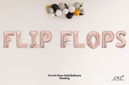 Picture of FLIP FLOPS Rose Gold Letters 34 Inch Foil Balloons