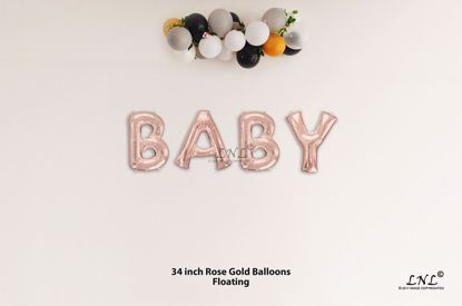 Picture of BABY Rose Gold Letters 34 Inch Foil Balloons
