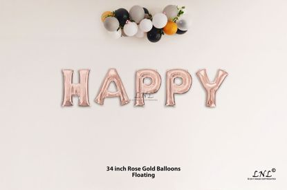 Picture of HAPPY Rose Gold Letters 34 Inch Foil Balloons