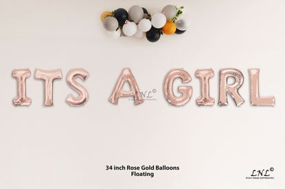 Picture of ITS A GIRL Rose Gold Letters 34 Inch Foil Balloons