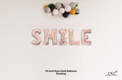 Picture of SMILE Rose Gold Letters 34 Inch Foil Balloons