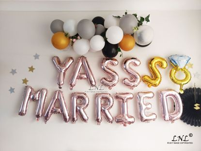 Picture of YASSS MARRIED Balloons, Rose Gold Balloons Silver Letter Ring