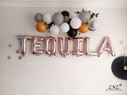 Picture of TEQUILA Rose Gold Silver Letter Balloons