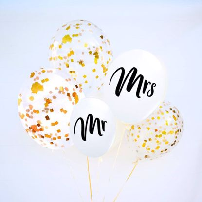 Picture of Mr Mrs Confetti Balloons Gold