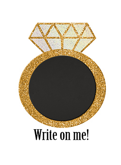 Picture of Glitter Diamond Ring Chalkboard Sign Easel