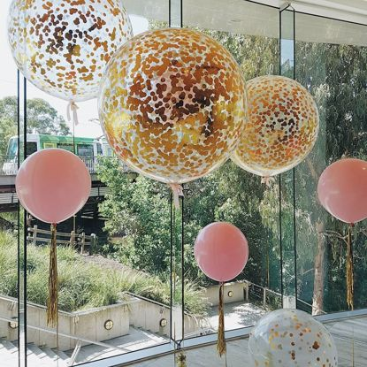 "Picture of Gold Confetti Balloons Metallic 36"" Pink"