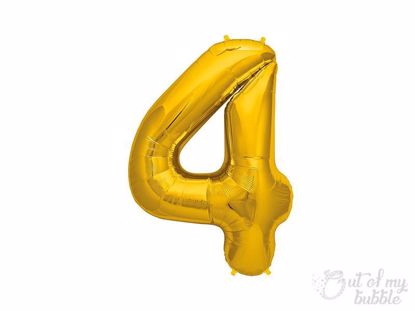 Gold foil balloon number 4
