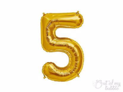 Gold foil balloon number 5