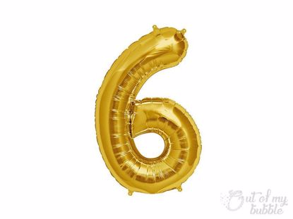 Gold foil balloon number 6