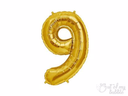 Gold  foil balloon number 9