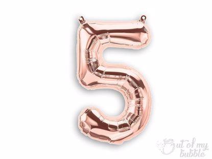 Rose gold foil balloon number 5