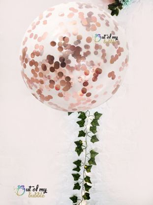 "Picture of Rose Gold Confetti Balloons 36"" Ivy Tail"
