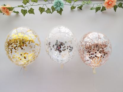 Picture of Confetti Balloons Rose Gold Silver Bouquet