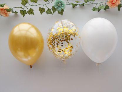 Picture of White Balloons Rose Gold Balloons Confetti Ceiling