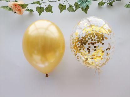 Picture of Gold Balloons Confetti Ceiling Bouquet