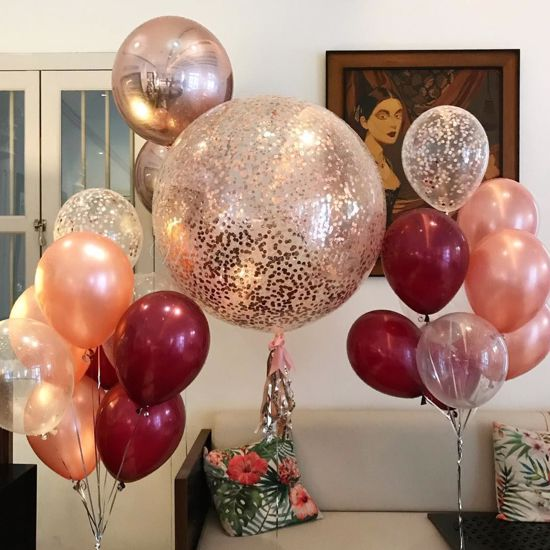 Picture of Rose Gold Balloons Confetti Bouquet Burgundy