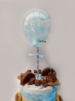 Picture of Blue Confetti Balloon Cake Topper