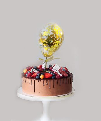 Picture of Gold  Confetti Balloon Cake Topper
