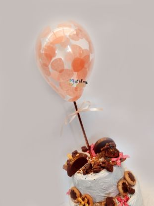 Picture of Peach Heart Confetti Balloon Cake Topper