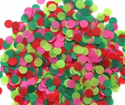 Picture of Christmas Tissue Paper Confetti Balloons Red Green Lime Pink