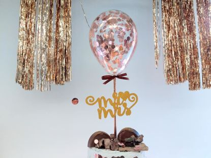 Picture of Rose Gold Balloon Confetti Cake Topper Mr Mrs