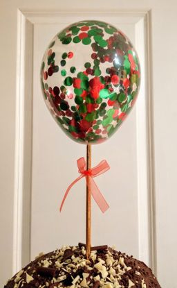 Picture of Christmas Balloon Confetti Cake Topper