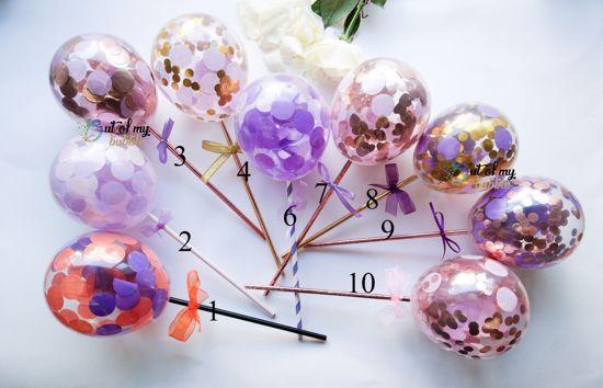 Picture of Cake Topper  Balloon Confetti Designs Purple Lavender Rose Gold