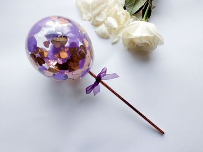 Picture of Cake topper Balloon Confetti Royal Purple Rose Gold Hearts