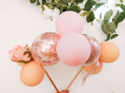 Picture of Balloon Cake Topper Mini Garland Pink Blush Rose Gold