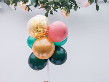 Picture of Balloon Cake Topper Mini Garland Green Gold Confetti Rosewood